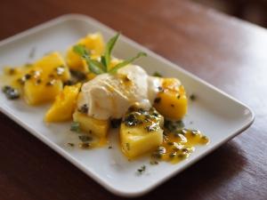 gegrillte mango ananas